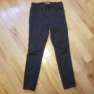 Madewell 10 inch high rise skinny black gold dots